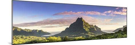 Sunrise over Mt Rotui, Opunohu Bay and Cook's Bay, Moorea, French Polynesia-Matteo Colombo-Mounted Photographic Print