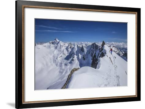 Mountaineer at Canton Peak, Forno Valley, Switzerland-ClickAlps-Framed Art Print