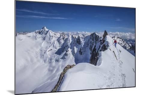Mountaineer at Canton Peak, Forno Valley, Switzerland-ClickAlps-Mounted Photographic Print