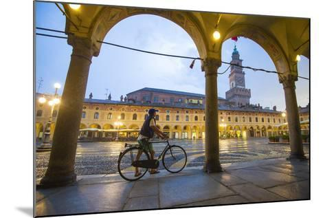 Piazza Ducale, Vigevano, Lombardy, Italy. Rainy Sunset and People.-Marco Bottigelli-Mounted Photographic Print