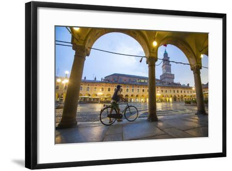 Piazza Ducale, Vigevano, Lombardy, Italy. Rainy Sunset and People.-Marco Bottigelli-Framed Art Print