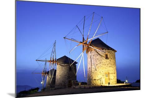 Illuminated Windmills of Chora, Patmos, Dodecanese, Greek Islands, Greece, Europe-Neil Farrin-Mounted Photographic Print