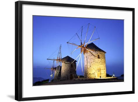 Illuminated Windmills of Chora, Patmos, Dodecanese, Greek Islands, Greece, Europe-Neil Farrin-Framed Art Print