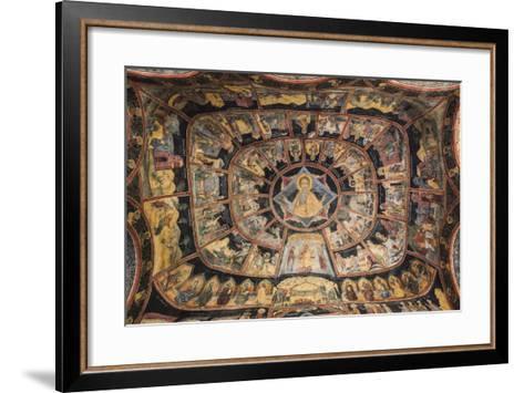 Romania, Transylvania, Sinaia, Sinaia Monastery, Small Church, Exterior Frescoes-Walter Bibikow-Framed Art Print