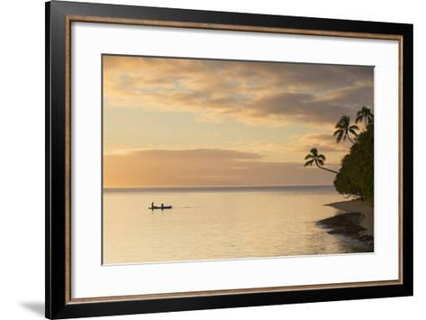 People Kayaking at Sunset, Leleuvia Island, Lomaiviti Islands, Fiji-Ian Trower-Framed Art Print