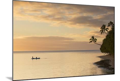 People Kayaking at Sunset, Leleuvia Island, Lomaiviti Islands, Fiji-Ian Trower-Mounted Photographic Print