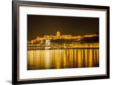 Buda Castle. Chain Bridge. Nightscape. Danube River Surroundings. Budapest. Hungary-Tom Norring-Framed Art Print
