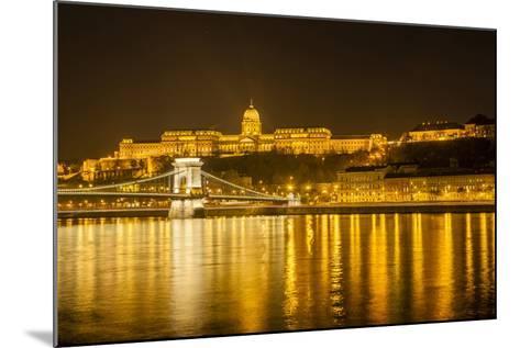 Buda Castle. Chain Bridge. Nightscape. Danube River Surroundings. Budapest. Hungary-Tom Norring-Mounted Photographic Print