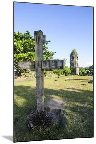 Christian Cross before the Cagsawa Church, Legaspi, Southern Luzon, Philippines-Michael Runkel-Mounted Photographic Print