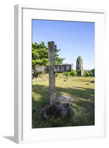 Christian Cross before the Cagsawa Church, Legaspi, Southern Luzon, Philippines-Michael Runkel-Framed Art Print