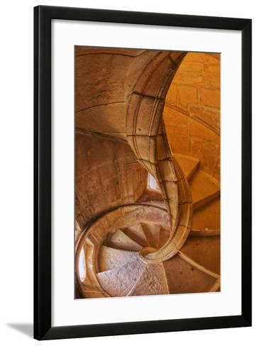 Portugal, Tomar, Spiral Stone Staircase in Convento De Cristo-Terry Eggers-Framed Art Print