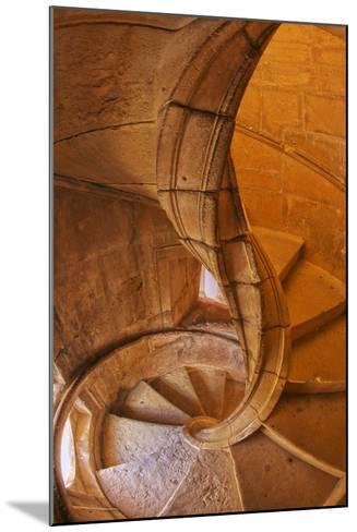 Portugal, Tomar, Spiral Stone Staircase in Convento De Cristo-Terry Eggers-Mounted Photographic Print