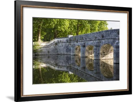 Old Stone Bridge Reflecting in River Cosson at Chateau Chambord, Loire Valley, France-Brian Jannsen-Framed Art Print