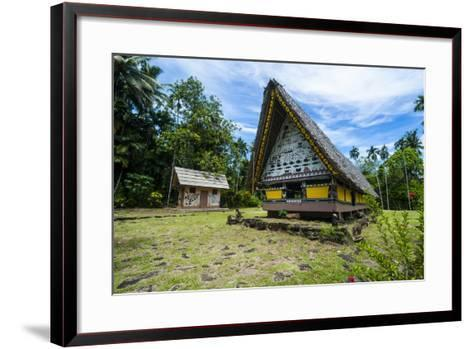 Oldest Bai of Palau, House for the Village Chiefs, Island of Babeldaob, Palau, Central Pacific-Michael Runkel-Framed Art Print