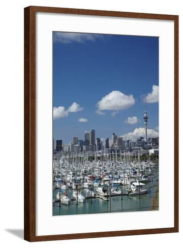 Westhaven Marina, and Sky Tower, Auckland, North Island, New Zealand-David Wall-Framed Art Print