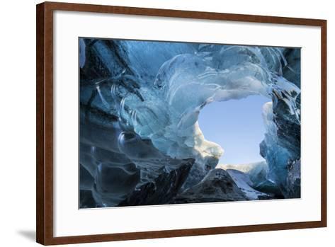Ice Cave in the Glacier Breidamerkurjokull in Vatnajokull National Park. Entrance to the Ice Cave-Martin Zwick-Framed Art Print