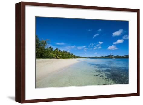 White Sand Beach and Turquoise Water at the Nanuya Lailai Island, Blue Lagoon, Yasawa, Fiji-Michael Runkel-Framed Art Print