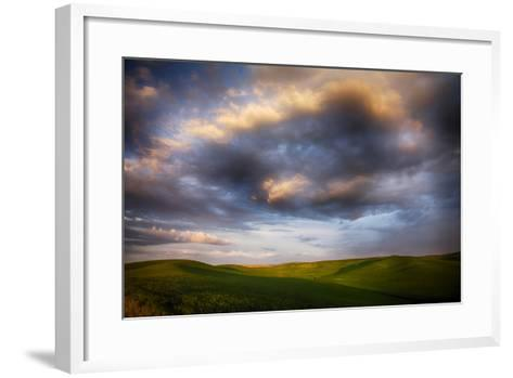 Washington, Palouse County, Rolling Hills of Green Spring Wheat and Evening Bright Clouds-Terry Eggers-Framed Art Print