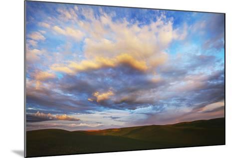 Washington, Palouse County, Rolling Hills of Green Spring Wheat and Evening Bright Clouds-Terry Eggers-Mounted Photographic Print