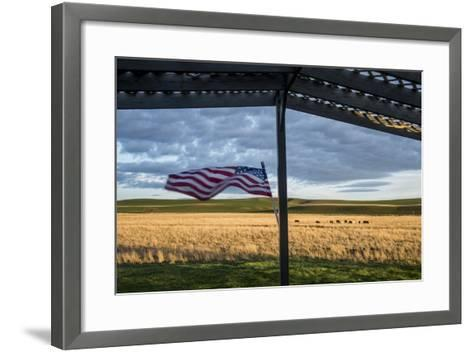 Whitman County, Lacrosse, Pioneer Stock Farm, View from Fran Jones Home of Flag and Pasture-Alison Jones-Framed Art Print