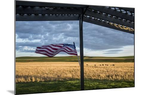 Whitman County, Lacrosse, Pioneer Stock Farm, View from Fran Jones Home of Flag and Pasture-Alison Jones-Mounted Photographic Print