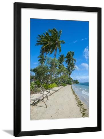 Palm Fringed White Sand Beach on an Islet of Vava'U Islands, Tonga, South Pacific-Michael Runkel-Framed Art Print