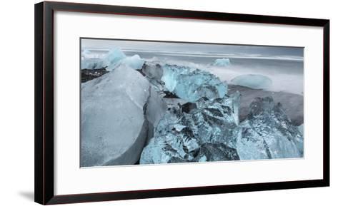 Beach Near the Glacial Lagoon Jokulsarlon and Glacier Breithamerkurjokull in Vatnajokull, Iceland-Martin Zwick-Framed Art Print