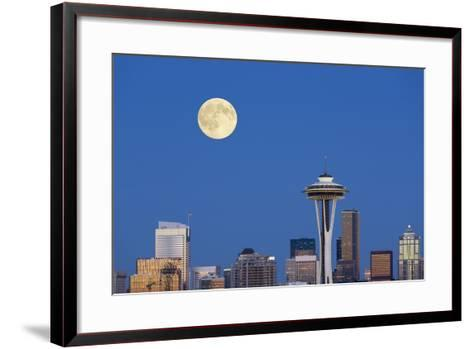 Wa, Seattle, Skyline View from Kerry Park, with Full Moon-Jamie And Judy Wild-Framed Art Print