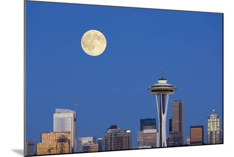 Wa, Seattle, Skyline View from Kerry Park, with Full Moon-Jamie And Judy Wild-Mounted Photographic Print