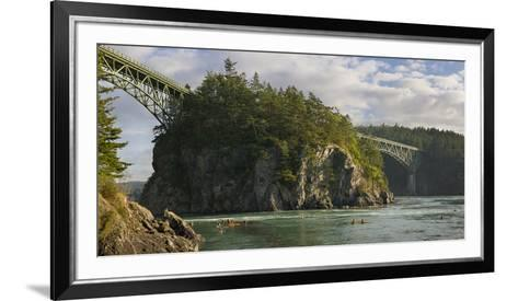 Washington, Sea Kayakers Play in Ebb Tidal Currents under the Deception Pass Bridge-Gary Luhm-Framed Art Print