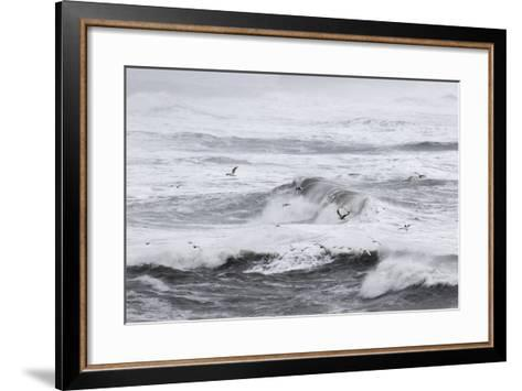 North Atlantic Coast Near Vik Y Myrdal During a Winter Storm with Heavy Gales-Martin Zwick-Framed Art Print
