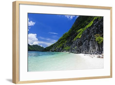 Little White Sand Beach in the Clear Waters of the Bacuit Archipelago, Palawan, Philippines-Michael Runkel-Framed Art Print