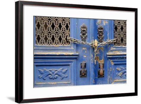 Portugal, Lisbon. Historic Alfama District, Blue Door with Chain Lock-Emily Wilson-Framed Art Print