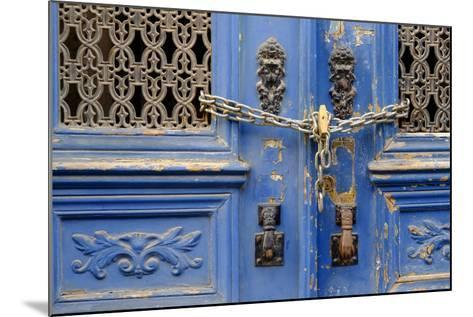 Portugal, Lisbon. Historic Alfama District, Blue Door with Chain Lock-Emily Wilson-Mounted Photographic Print