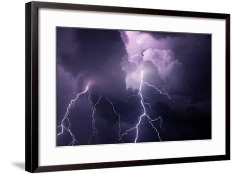 USA, Tennessee. Composite of Cloud-To-Cloud Lightning Bolts-Jaynes Gallery-Framed Art Print