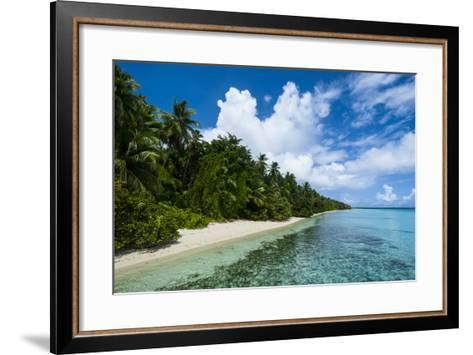 Paradise White Sand Beach in Turquoise Water in the Ant Atoll, Pohnpei, Micronesia-Michael Runkel-Framed Art Print