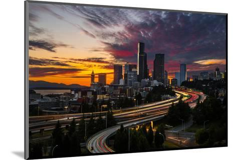 Washington, Seattle. Sunset View of Downtown over I-5 from the Jose Rizal Bridge-Gary Luhm-Mounted Photographic Print