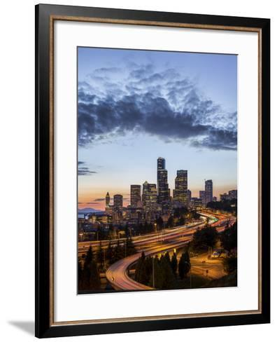 Washington, Seattle. Sunset View of Downtown over I-5 from the Jose Rizal Bridge-Gary Luhm-Framed Art Print