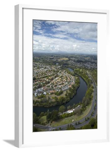Waikato River and Cobham Drive, Hamilton, Waikato, North Island, New Zealand, Aerial-David Wall-Framed Art Print