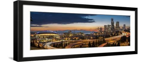 Washington, Seattle. Sweeping Sunset View over Downtown Seattle-Gary Luhm-Framed Art Print