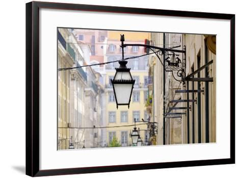 Portugal, Lisbon. Wrought Iron Street Lights on Corner of Building. Maritime Emblem-Emily Wilson-Framed Art Print