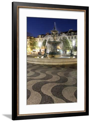 Portugal, Lisbon. Rossio Square at Night. Bronze Mermaid Fountain-Emily Wilson-Framed Art Print