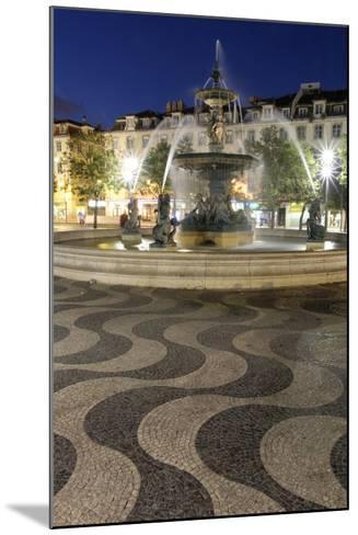 Portugal, Lisbon. Rossio Square at Night. Bronze Mermaid Fountain-Emily Wilson-Mounted Photographic Print