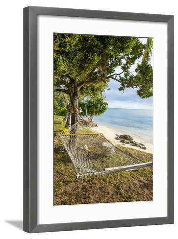 Hammock on a Beach in Ha'Apai, Tonga, South Pacific-Michael Runkel-Framed Art Print