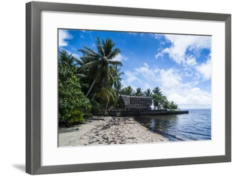 Traditional Thatched Roof Hut, Yap Island, Micronesia-Michael Runkel-Framed Art Print