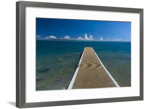 Pier with Cocos Island in the Background, Guam, Us Territory, Central Pacific-Michael Runkel-Framed Art Print