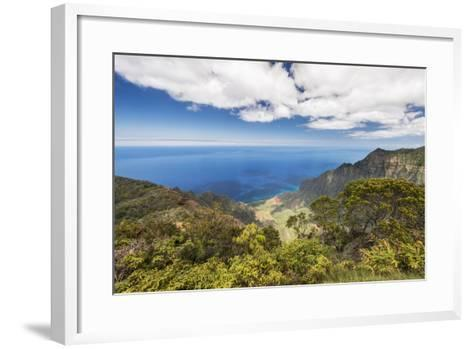 Hawaii, Kauai, Kokee State Park, View of the Kalalau Valley from Kalalau Lookout-Rob Tilley-Framed Art Print