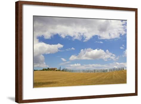 Italy, Tuscany. Cypress Tree Alley and Farm House-Jaynes Gallery-Framed Art Print