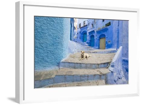 Morocco. Blue Narrow Streets and Neighborhooda of Chaouen-Emily Wilson-Framed Art Print