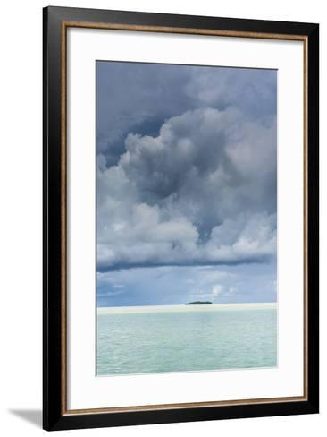 Dramatic Sky over a Little Island in the Rock Islands, Palau, Central Pacific-Michael Runkel-Framed Art Print